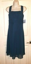 DAVID'S BRIDAL Empire Waist Peacock Blue Chiffon Bride's Maid/Formal Party Dress - $17.82