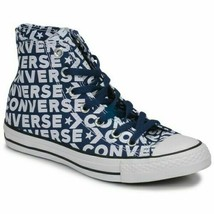 CONVERSE ALL STAR CHUCK TAYLOR HI TRAINERS SPORTS MEN SHOES NAVY PRINT S... - $69.29