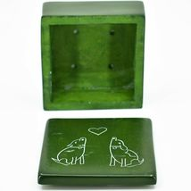 """Vaneal Group Hand Carved Kisii Soapstone Puppy Dog Love Green 3"""" Trinket Box image 4"""