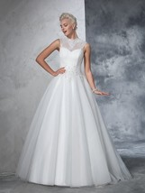 Illusion Sleeveless Lace Top A-Line Wedding Dress With Keyhole Back - $236.00