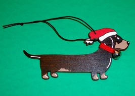 Black & Tan Smooth Dachshund Christmas Wooden Ornament - $16.50