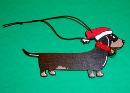 Black & Tan Smooth Dachshund Christmas Wooden Ornament - $16.50