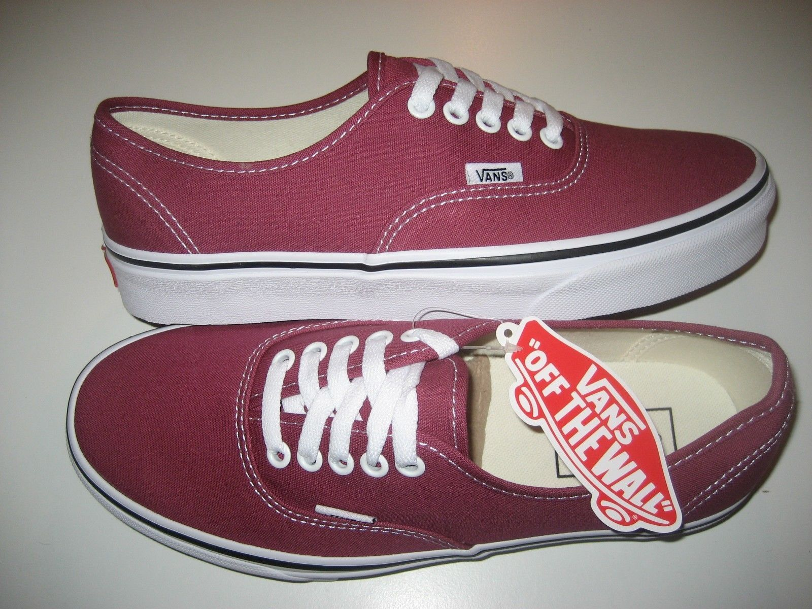 Vans Authentic Mens Dry Rose True White canvas Skate Boat shoes Size 8 NWT