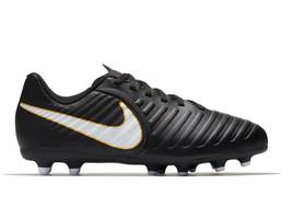 Nike Jr Tiempo Rio IV Firm-Ground Kids' Soccer Black Cleats NEW - $22.49