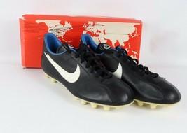 Vintage 80s Nuevo Nike Hombre 4.5 Eu 38 United Cuero Soccer Zapatos Tacos Negro - $149.83