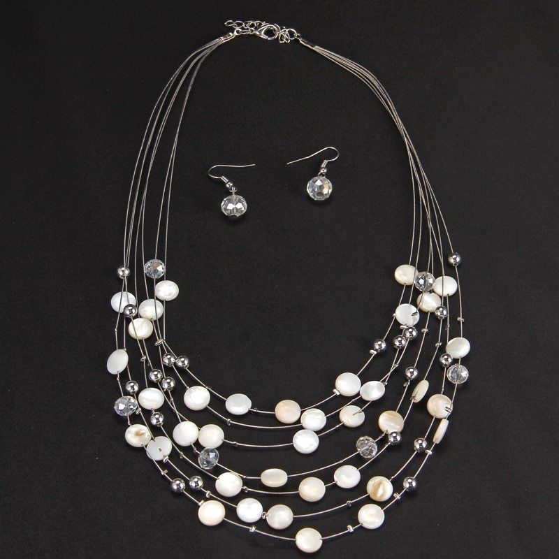 Jewelry Set Bridal Wedding Ladies Charm African Pendant Necklace Earrings Sets