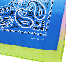 "12 Pack Gradient Rainbow Cotton Head Wrap Scarf Bandana Ombre Colors 22"" X 22"" image 9"