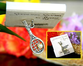 Vintage tennis racket bracelet charm pendant sterling silver beaucraft thumb200
