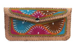 Exclusive Leather Embroidery Hand Purse Pouch by Artisans from Rajasthan - $34.00