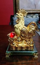 8 Inch Golden Rooster Statue with Ru Yi Chinese New Year - $45.00