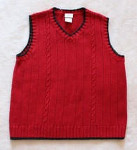 Perfectly Dressed Boys Sweater Vest Size 5T Red Cable Knit Casual Dressy... - $17.81