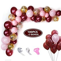 OMIA Burgundy and Pink Garland Kit - 103pcs 12Inch Burgundy Balloons & Gold Conf