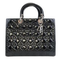 Christian Dior Black Cannage Patent Leather Large Lady Dior Shoulder Bag - $1,287.08
