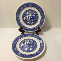 """3 Desert Plates Blue Willow Homer Laughlin 7.25"""" L62N4 - $17.41"""