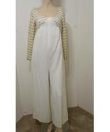 Vintage Jumpsuit White Gold Metallic Trim Palazzo Pant Silk Lined Scovill M - £205.25 GBP