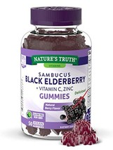 Sambucus Black Elderberry Gummies | 50 Count | with Vitamin C and Zinc | Natural