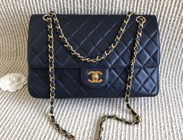 100% Authentic Chanel Vintage Dark Blue Lambskin Medium Classic Double Flap Bag