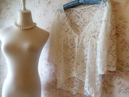 Rustic Lace Plus Size Lace COVER-UP Ivory Lace Coverup Boho wedding Women TOPS image 7