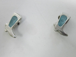 "Cowboy Boots Boot Southwestern Earrings Turquoise Inlay And Silver 3/8"" Vintage - $4.75"