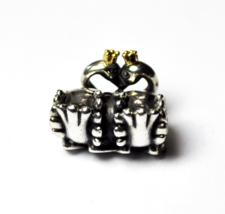 Pandora Sterling Silver 2 Tone Swan Embrace Heart Charm Bead 791189 - $17.81