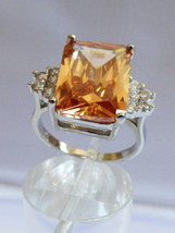Sterling Silver .925 Emerald cut Peach Champagne CZ & clear Ring size 6.75 - $64.35