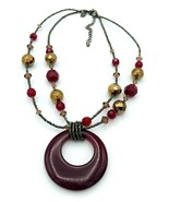Lia Sophia Red Glass Metallic Copper Seed Bead Necklace - $15.84