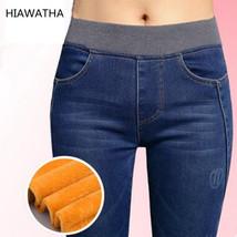 Spring Jeans Women Gold Fleece Inside Warm Jeans Pants Winter Thickening Elastic - $29.10+