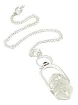 Péndulo Cristal Herkimer Diamante Granate Doble Acabado Radiestesia Adivinación - $25.65