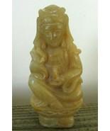 GUANYIN Quan-Yin KUAN-YIN Chinese Soapstone Statue Pendant Seated Lotus ... - $96.27