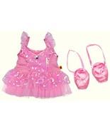 Build a Bear Prima Ballerina Pink Sequin Tulle Dress with Ballet Slipper... - $49.95