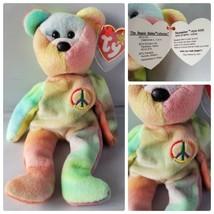 Ty Beanie Baby Peace Bear Original Rare Fareham Hants P.V.C. Error Wrong... - $169.28