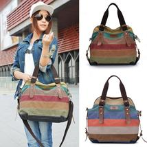 Women Stripe Canvas Handbag Retro Men Canvas Hobo Shoulder Messenger Gallent Cro