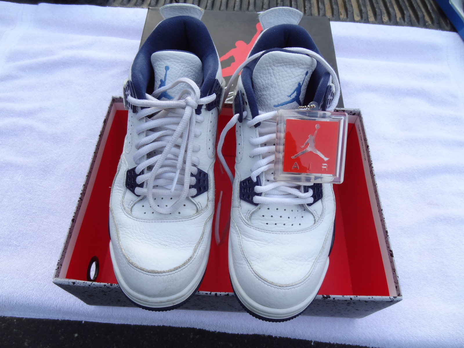 best sneakers 39ed0 21391 NIKE AIR JORDAN 4 RETRO LS WHITE   LEGEND BLUE-MIDNIGHT NAVY SIZE 8.5 N