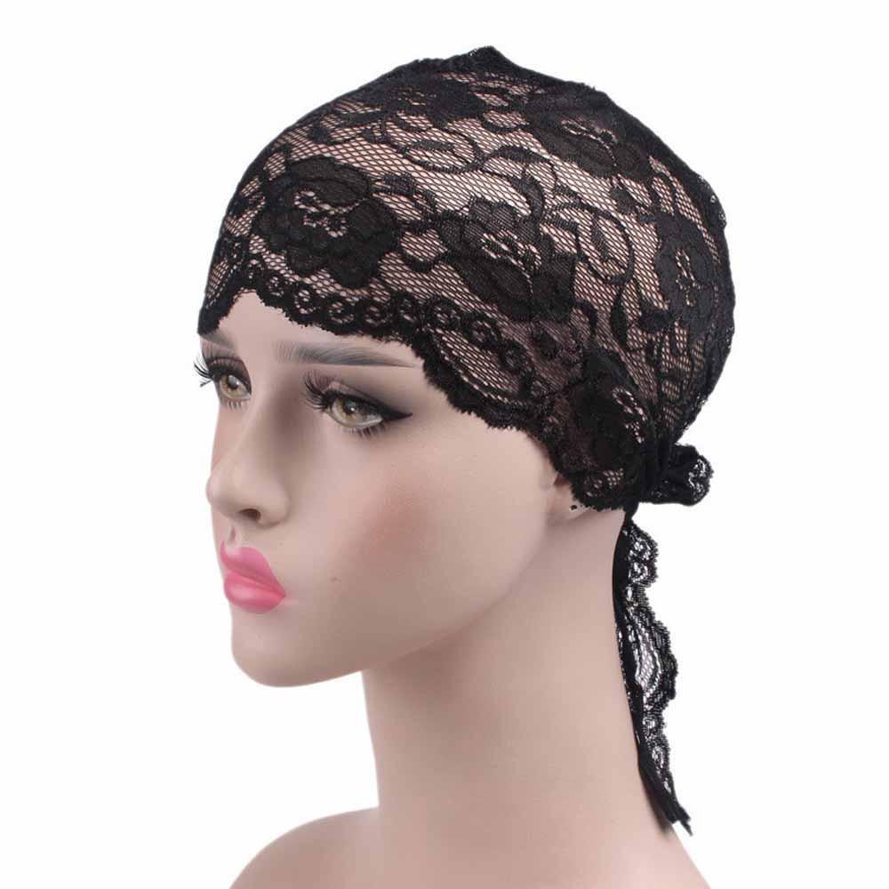 b6140f8df345b Women lace cancer chemo hat beanie scarf turban head wrap cap lace fashion  gorras mujer cute