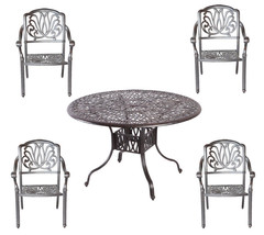 5 piece outdoor dining set cast aluminum outdoor furniture round table 4 chairs. image 1