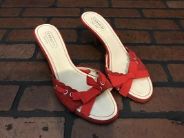 Coach Cyndi Heels Red Suede Size 8 Ruffles With a Bow Deign Made In Italy - $43.27