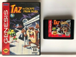 ☆ TAZ in Escape From Mars (Sega Genesis 1994) AUTHENTIC Game Cart & Box Works ☆ - $7.99