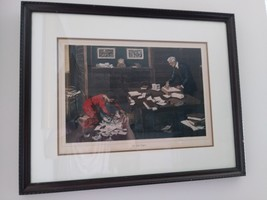 """""""The Lost Papers"""" Painted by J.H Smith Engraved by Mann Framed Art Work Vintage  image 1"""