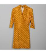 $228 J McLaughlin Orange Yellow Geometric Stretch Faux Wrap Shift Dress ... - $59.39