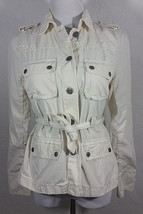 J Crew Womens Jacket Medium Button Down White Cream Belt Multiple Pockets Coat - $24.99