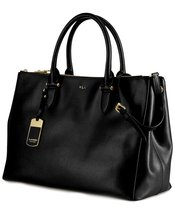 Ralph Lauren 431186080-KDJ Women's Newbury Double-Zip Satchel, Black/Gold - $328.30