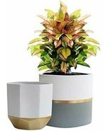 White Ceramic Flower Pot Garden Planters 6.5 Inch Pack 2 Indoor, Plant C... - $71.03