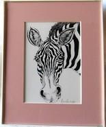 Zebra, Framed Matted Wildlife Art Print, Pen and Ink, Animal Art Print, ... - $30.00
