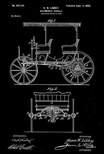 Primary image for 1900 - Automobile Vehicle - H. W. Libbey - Patent Art Poster