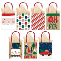 Holiday Bags with Tissue Paper, 7 Styles Paper Kraft Bags Loots Favors 1... - $12.82