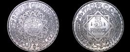 1951 (Year 1370) Moroccan 5 Franc World Coin - Morocco - $13.99
