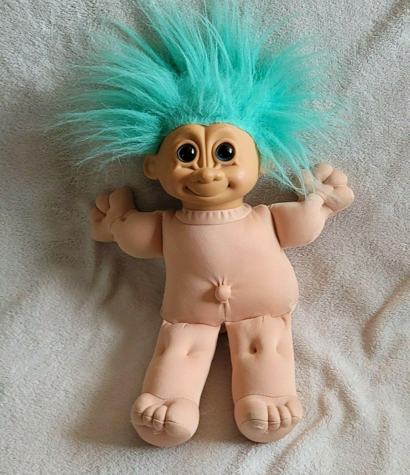 Russ Troll Kids Kidz Stuffed Plush Doll Toy Baby with Turquoise Aqua Blue Hair - $12.86