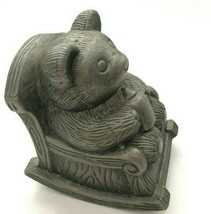 Vintage Metal Bear Coin Piggy Bank Baby Bear In Rocking Chair Silver Pew... - $22.49
