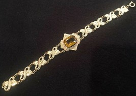 "Vintage Brass Link Bracelet With Amber Glass Cabochon - Leaf Motif - 7 1/8"" - $28.85"