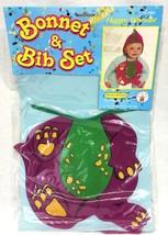 Rubies Costume Co Baby Bonnet & Bib Set Purple Dinosaur Barney Vintage 1991 NIP - $14.95